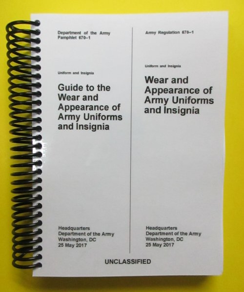 AR and DA PAM 670-1 COMBO Wear of Army Uniforms & Insignia - BIG
